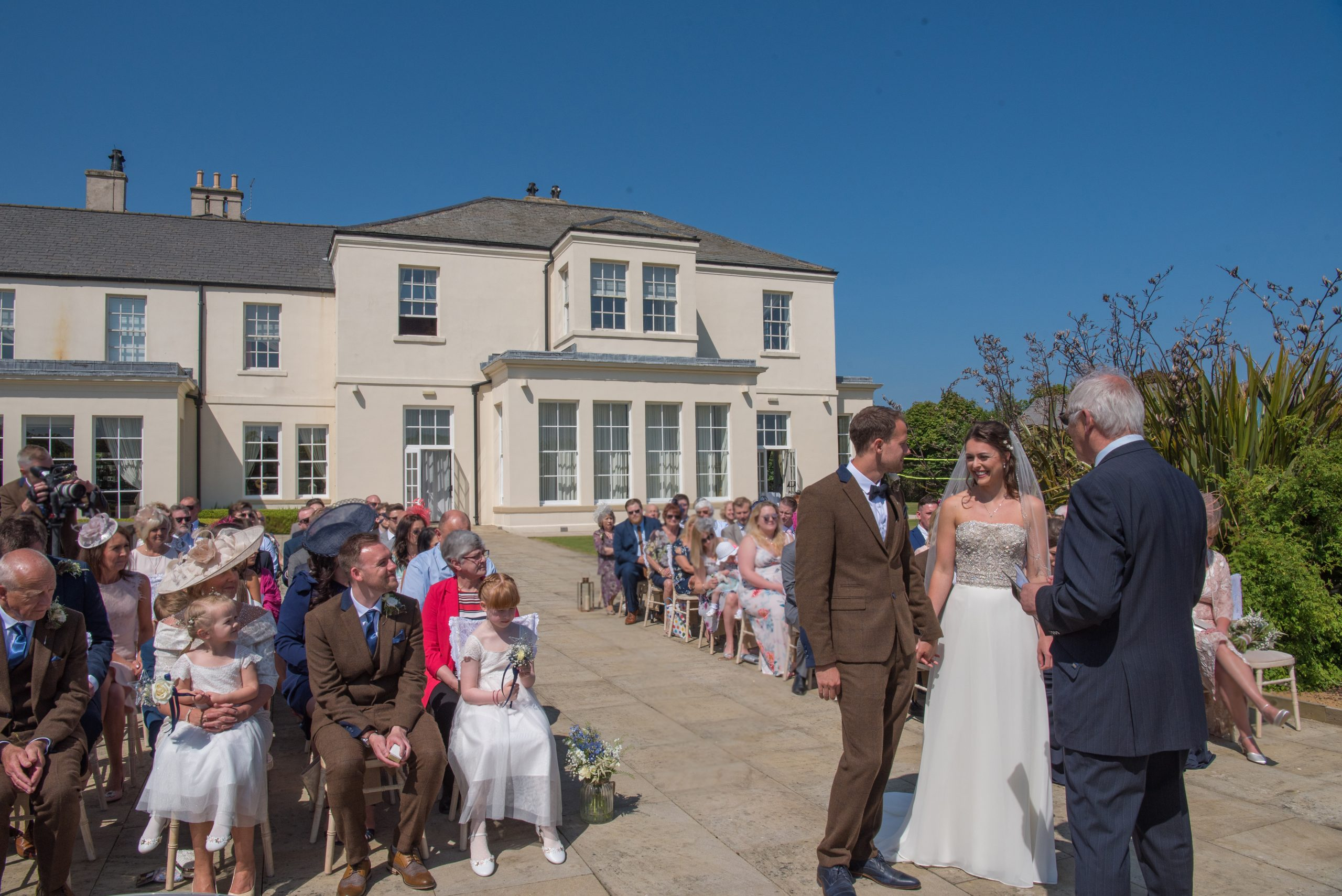 Outdoor ceremony at Seaham Hall