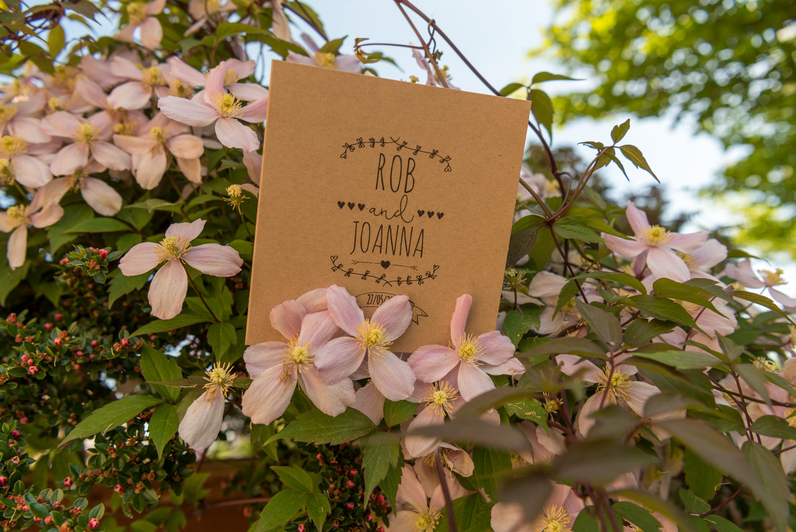 Lovely way to display your Order of the Day Wedding cards