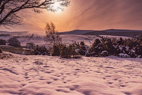 Sunset over Simonside Rothbury Northumberland