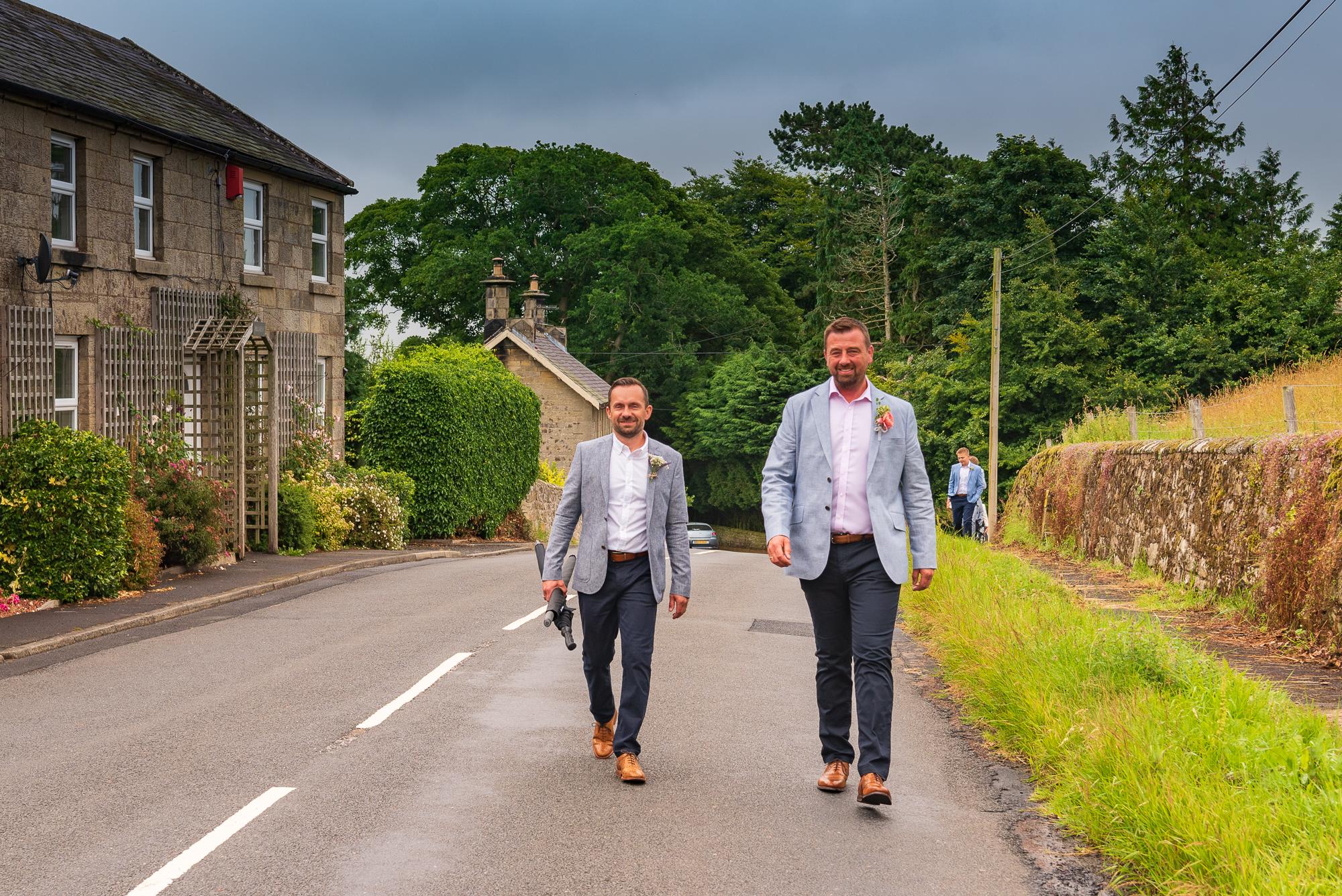 Groomsmen arriving at Hepple Church