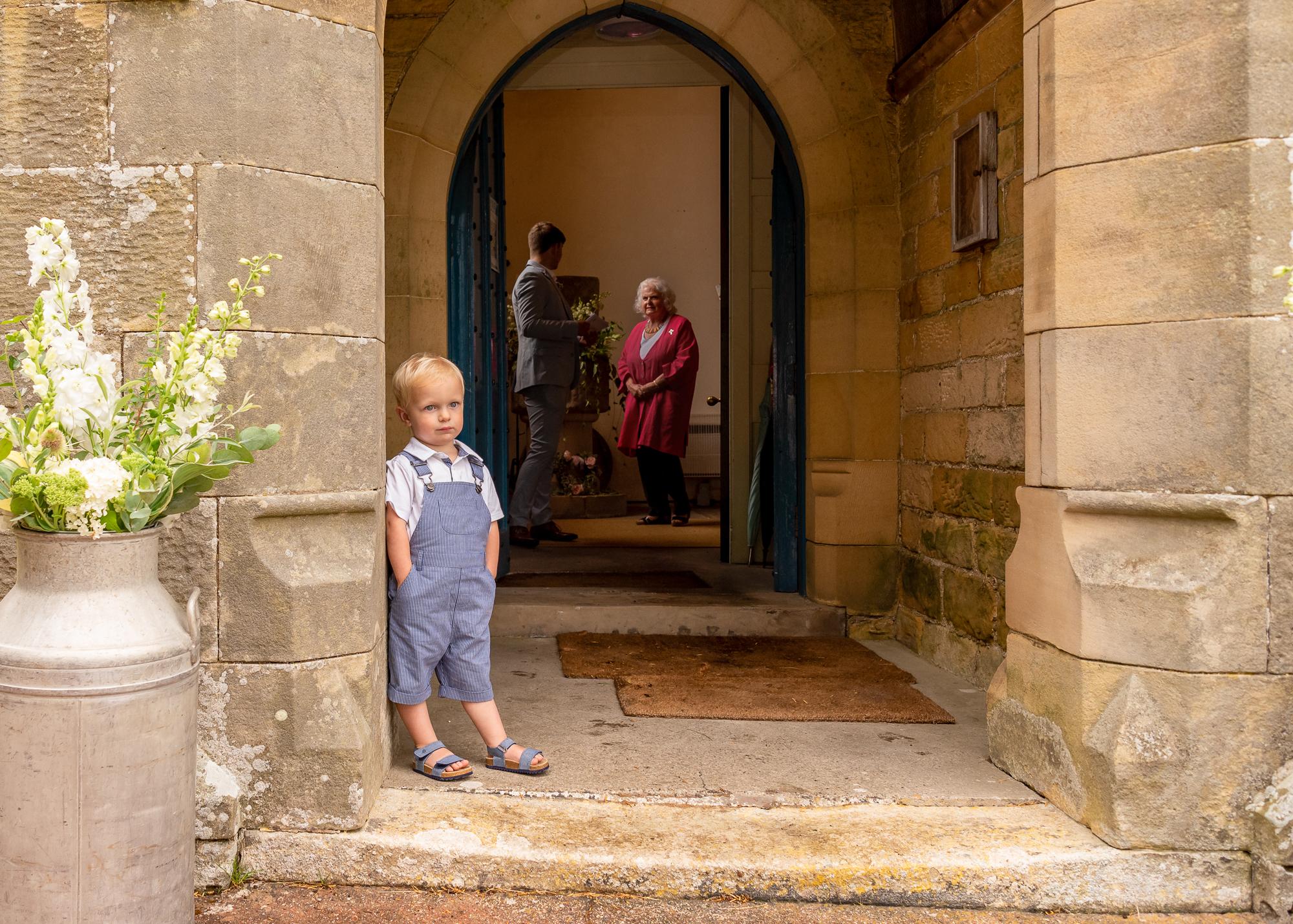 Page Boy at Northumberland Church Wedding photo